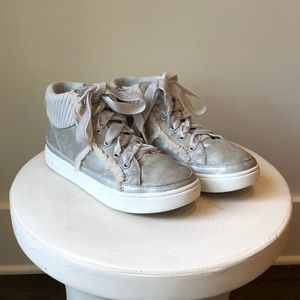 Ugg Silver leather sneakers with shearling trim
